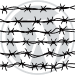Barbed wire over WP logo